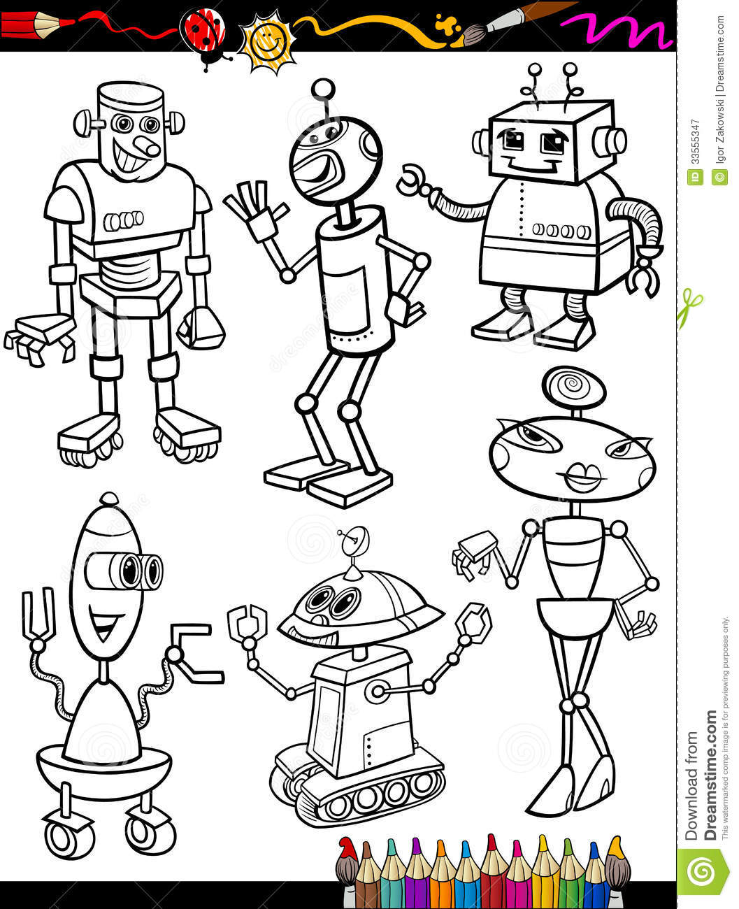 robots cartoon set for coloring book royalty free stock