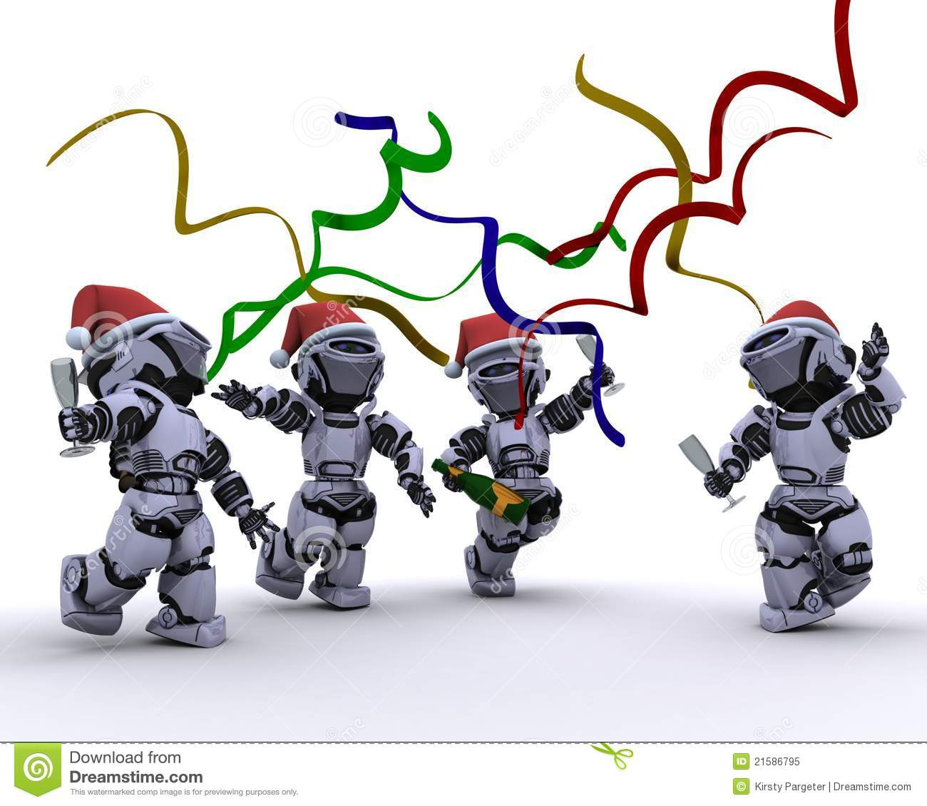 Robots Celebrating At A Christmas Party Royalty Free Stock Photo ...