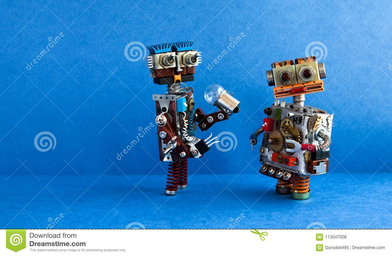Robots communication, artificial intelligence concept. Two robotic characters, light bulb. Creative design toys on blue