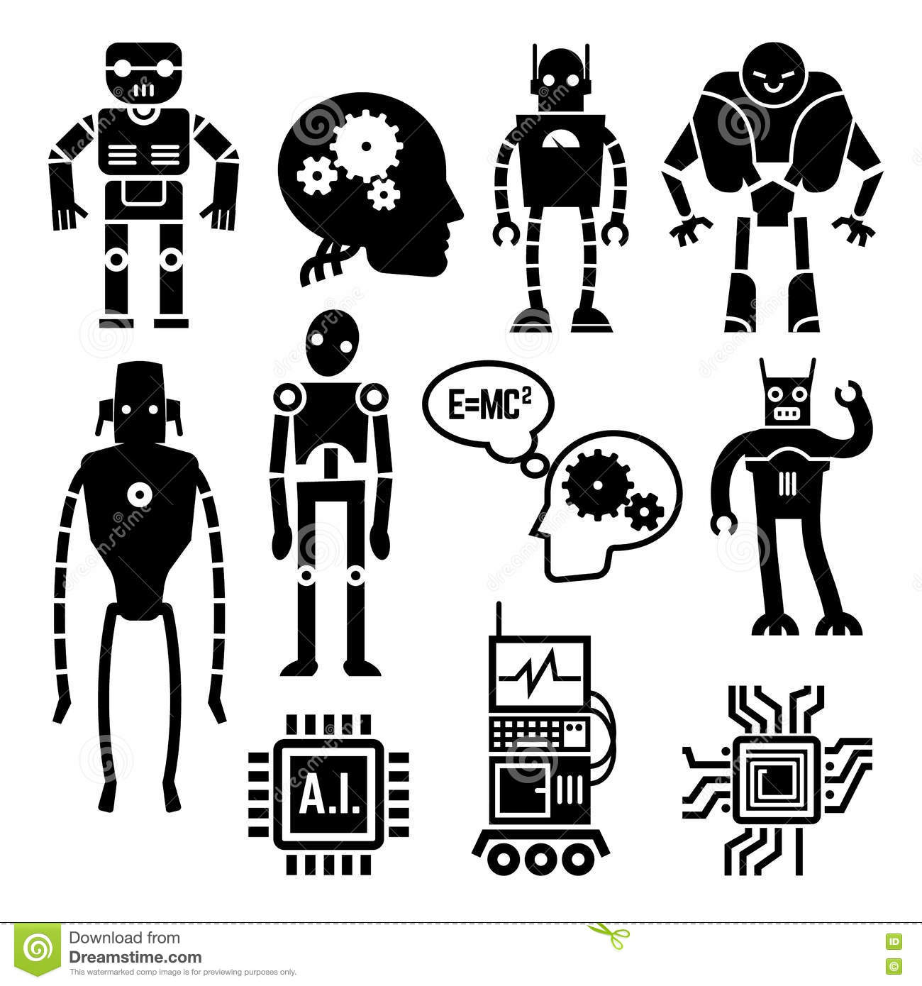 Robots, cyborgs, androids and artificial intelligence vector icons