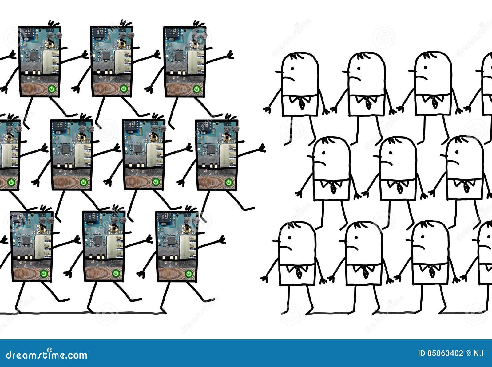 Robots - marchant contre des humains