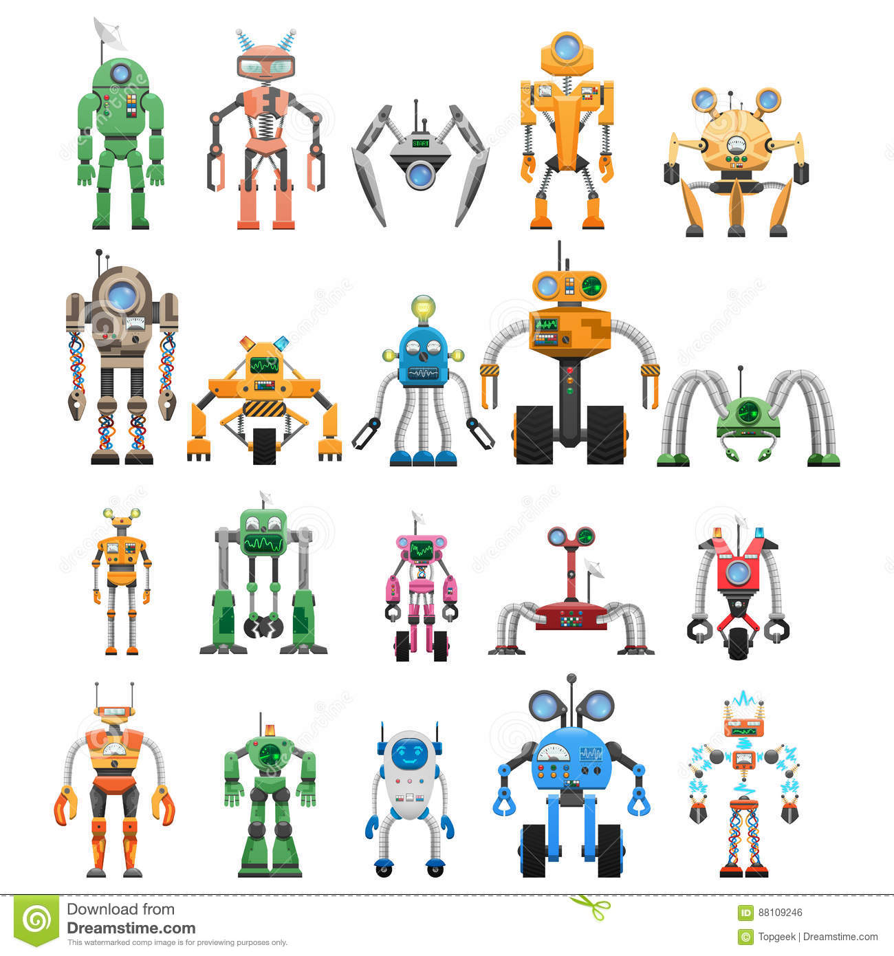 Robots Set Modular Collaborative Android Machines Stock Vector