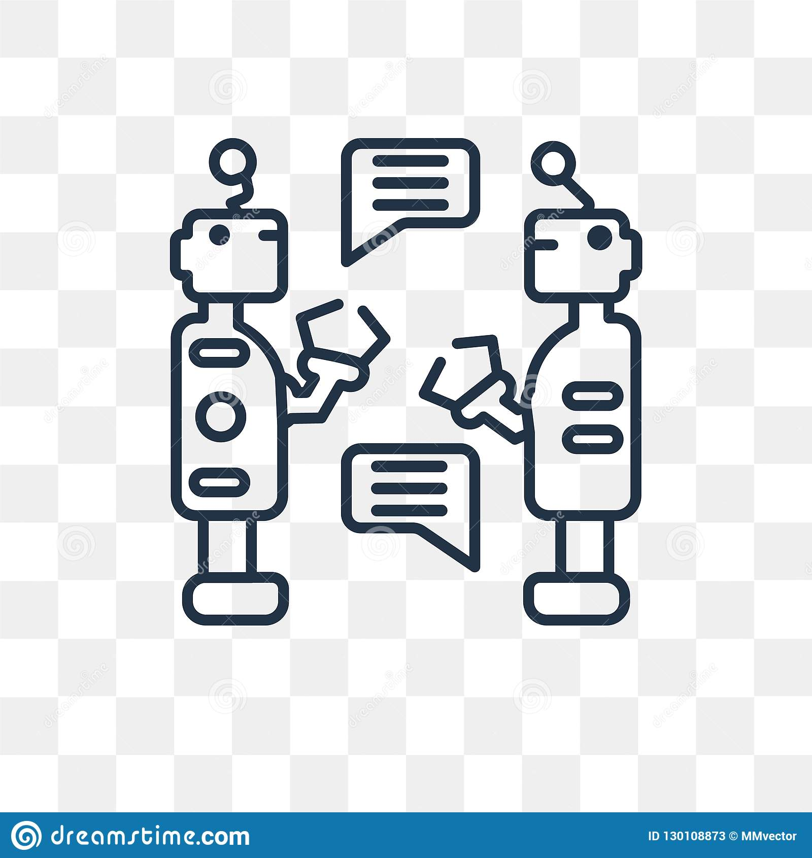 Robots Vector Icon Isolated On Transparent Background Linear Ro