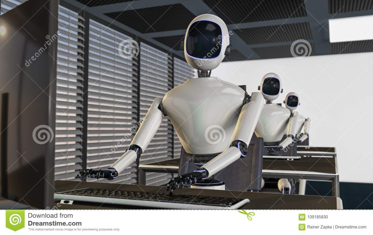 We are the robots, robots working in an office