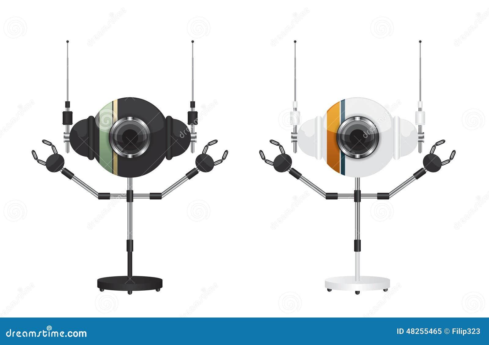Robots zwart-witte illustratie