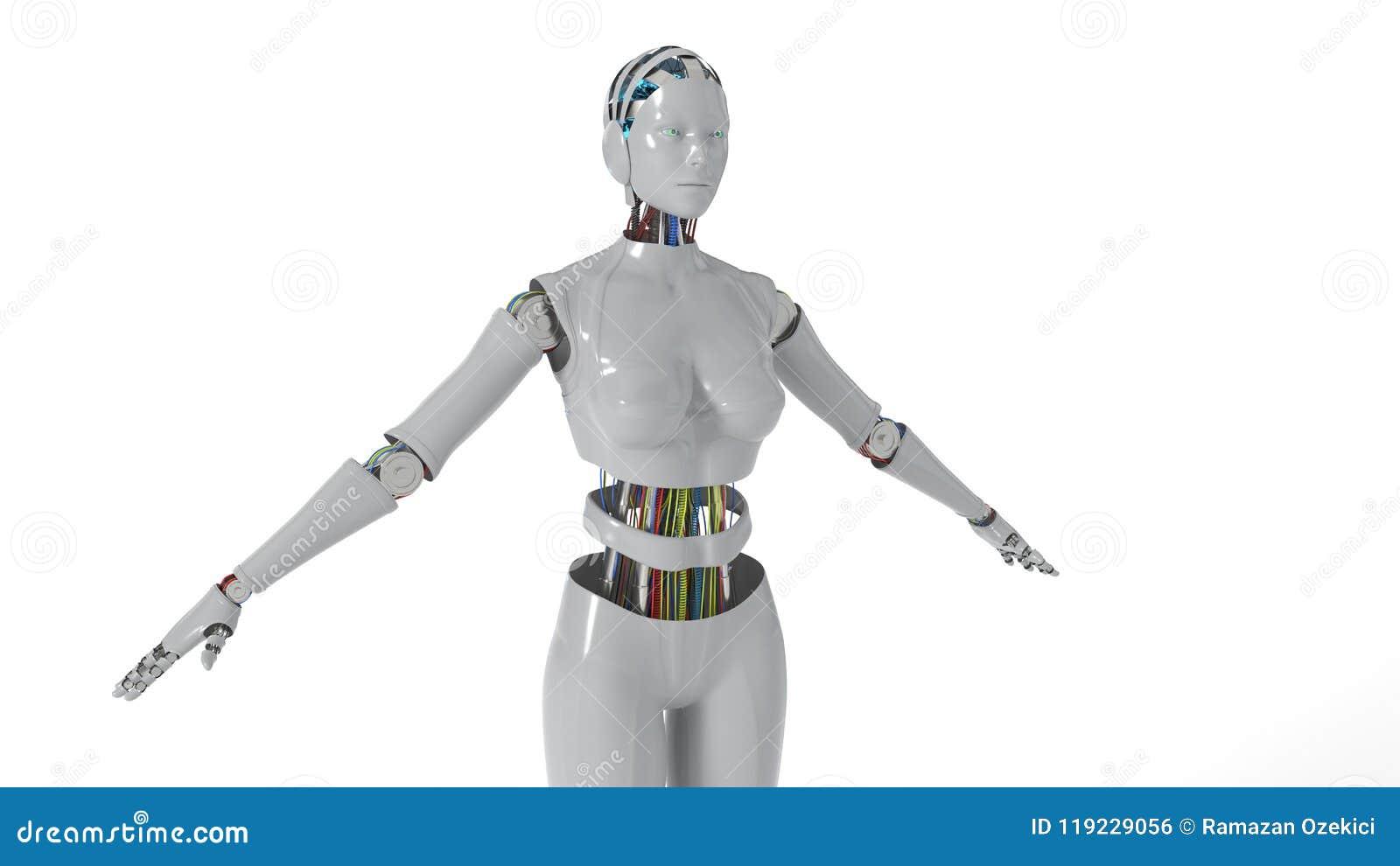 Robotvrouw die witte achtergrond, het 3d teruggeven werken