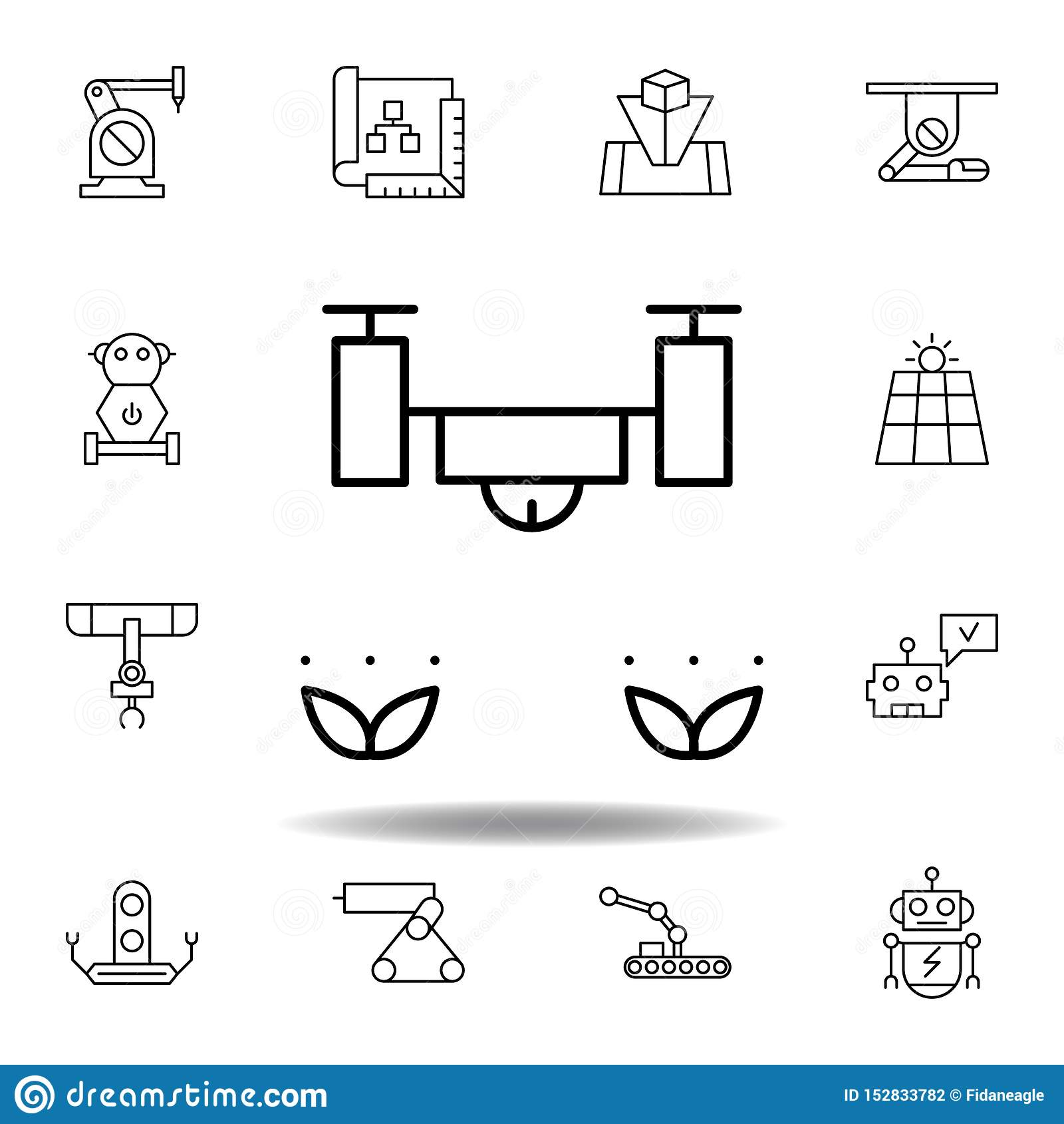 Robotyka trutnia ziele konturu ikona set robotyki ilustracji ikony znaki, symbole mogą używać dla sieci, logo, mobilny app, UI,