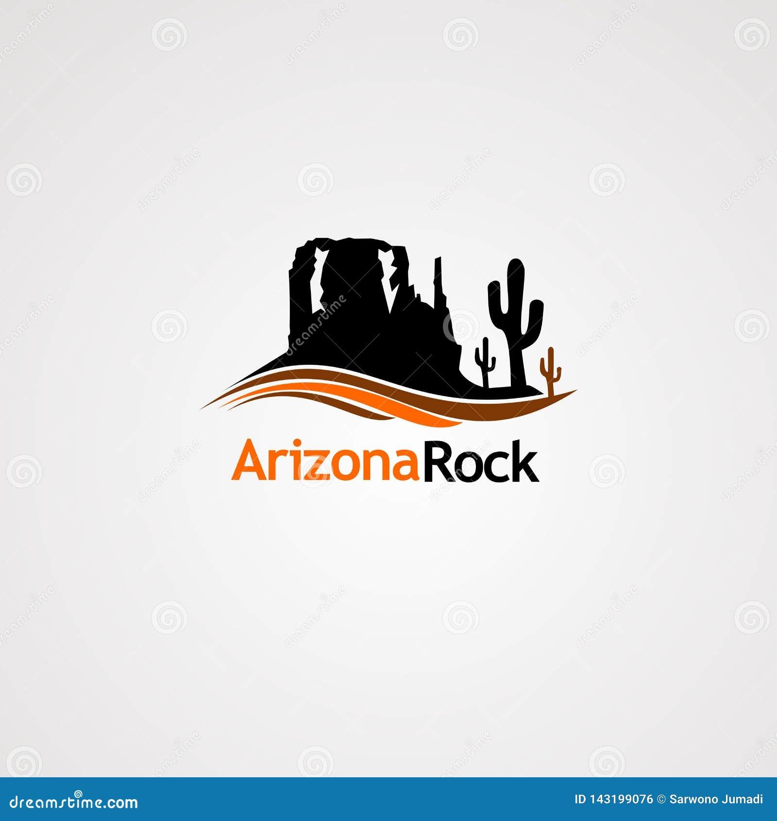 Roca de Arizona con vector del logotipo del cactus del árbol y del concepto de la onda, el icono, el elemento, y la plantilla par