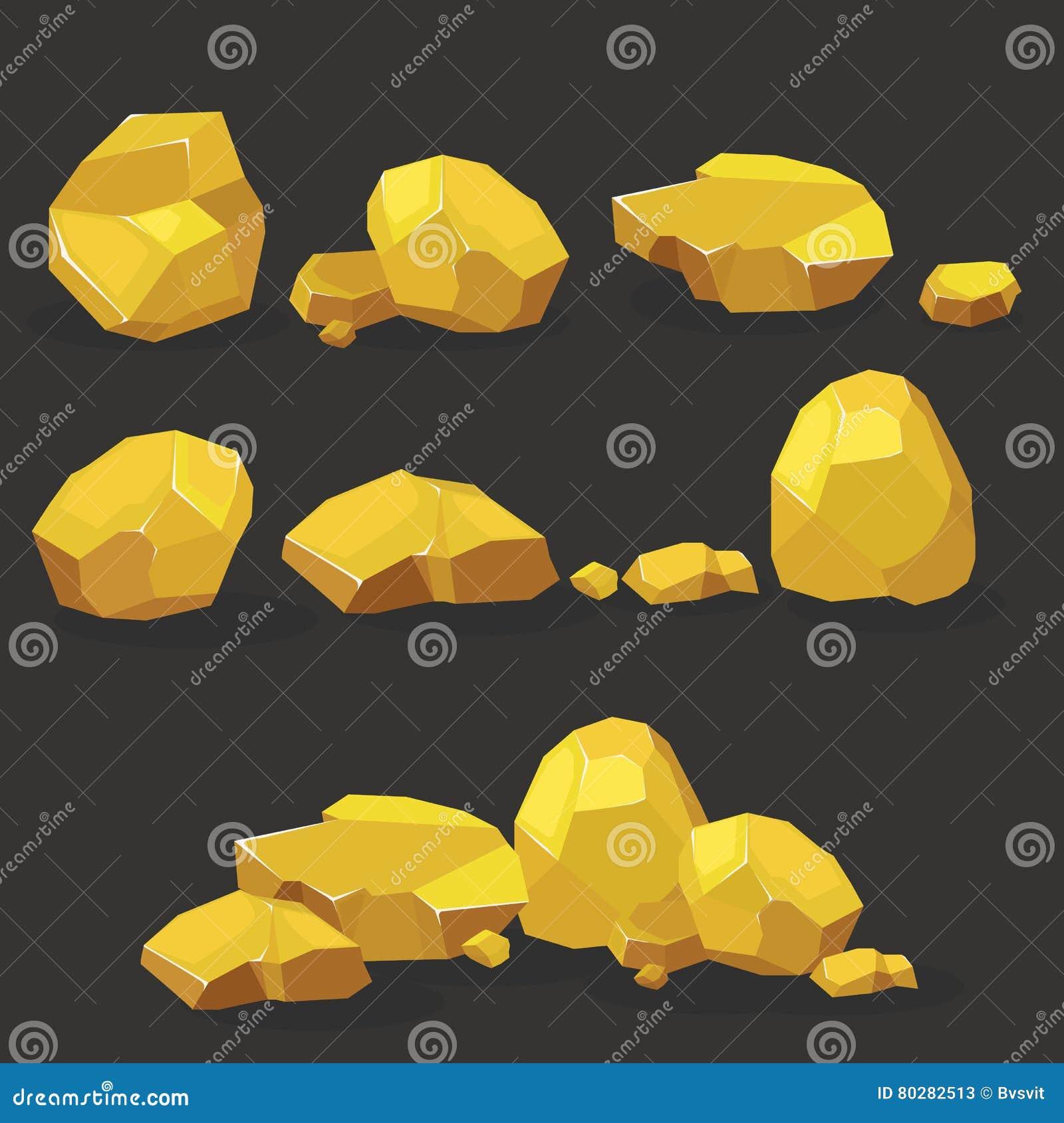 Roca del oro, sistema de la pepita Las piedras escogen o llenaron para el daño y los escombros para el diseño de la arquitectura