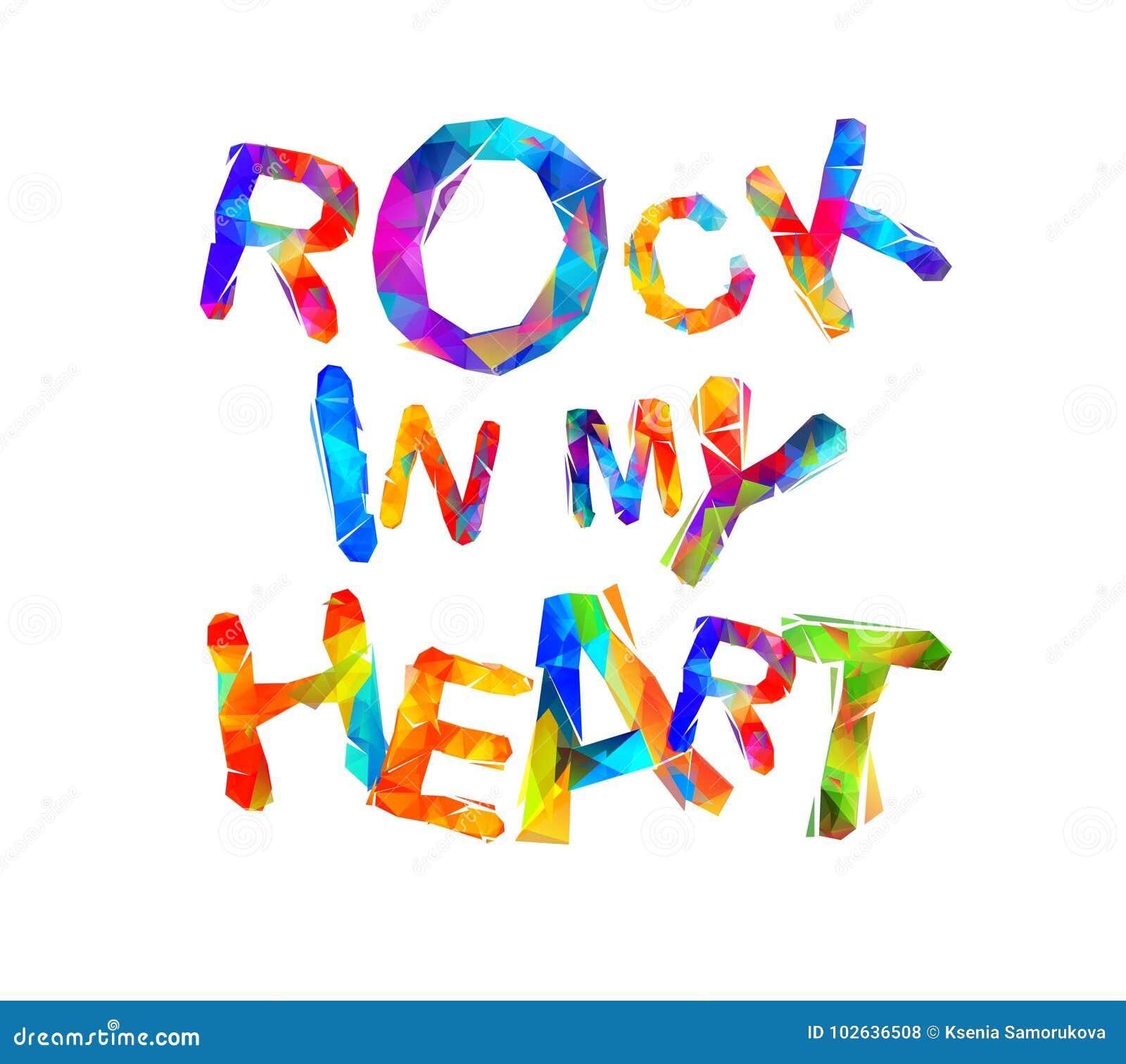 Roca en mi corazón Letras triangulares