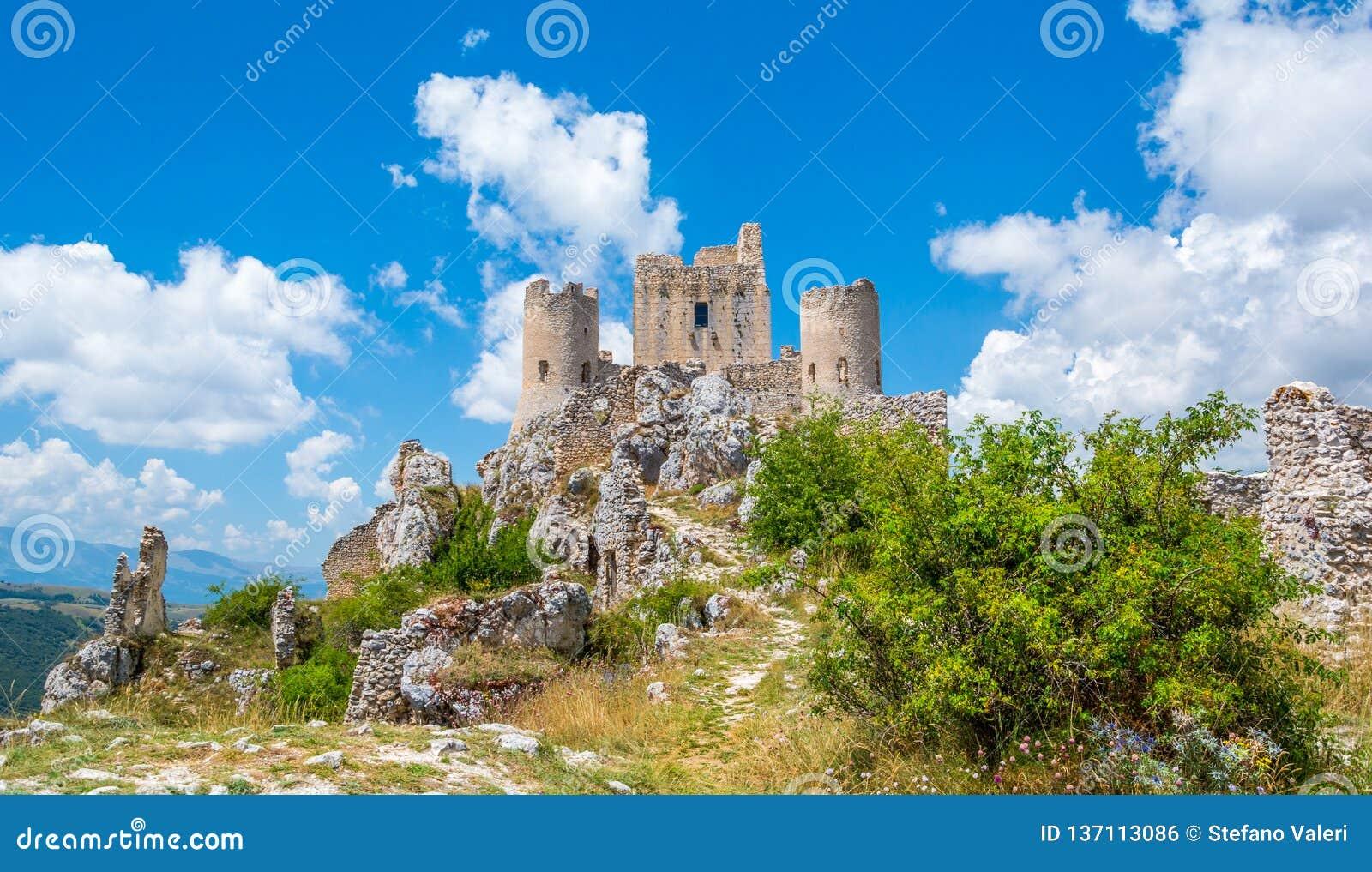 Rocca Calascio, mountaintop fortress or rocca in the Province of L`Aquila in Abruzzo, Italy.