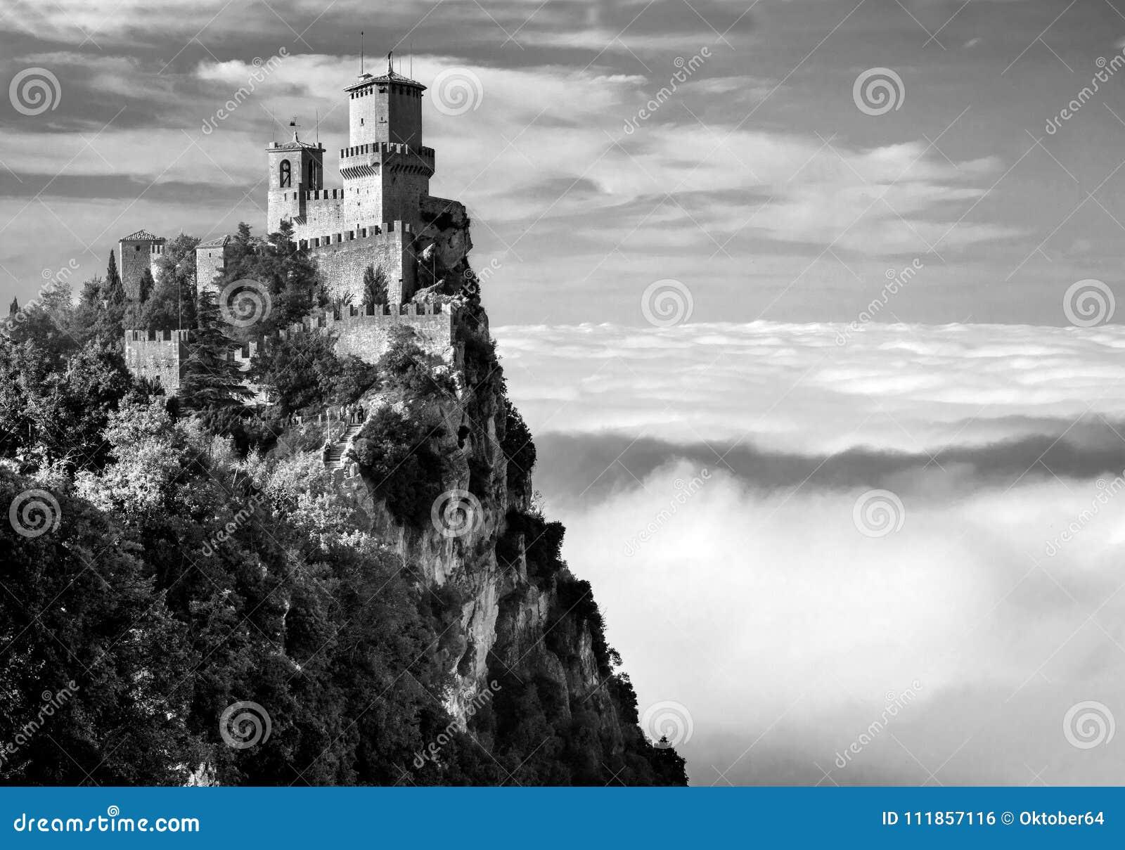 Rocca della Guaita, the most ancient fortress of San Marino, Italy. Black and white photo