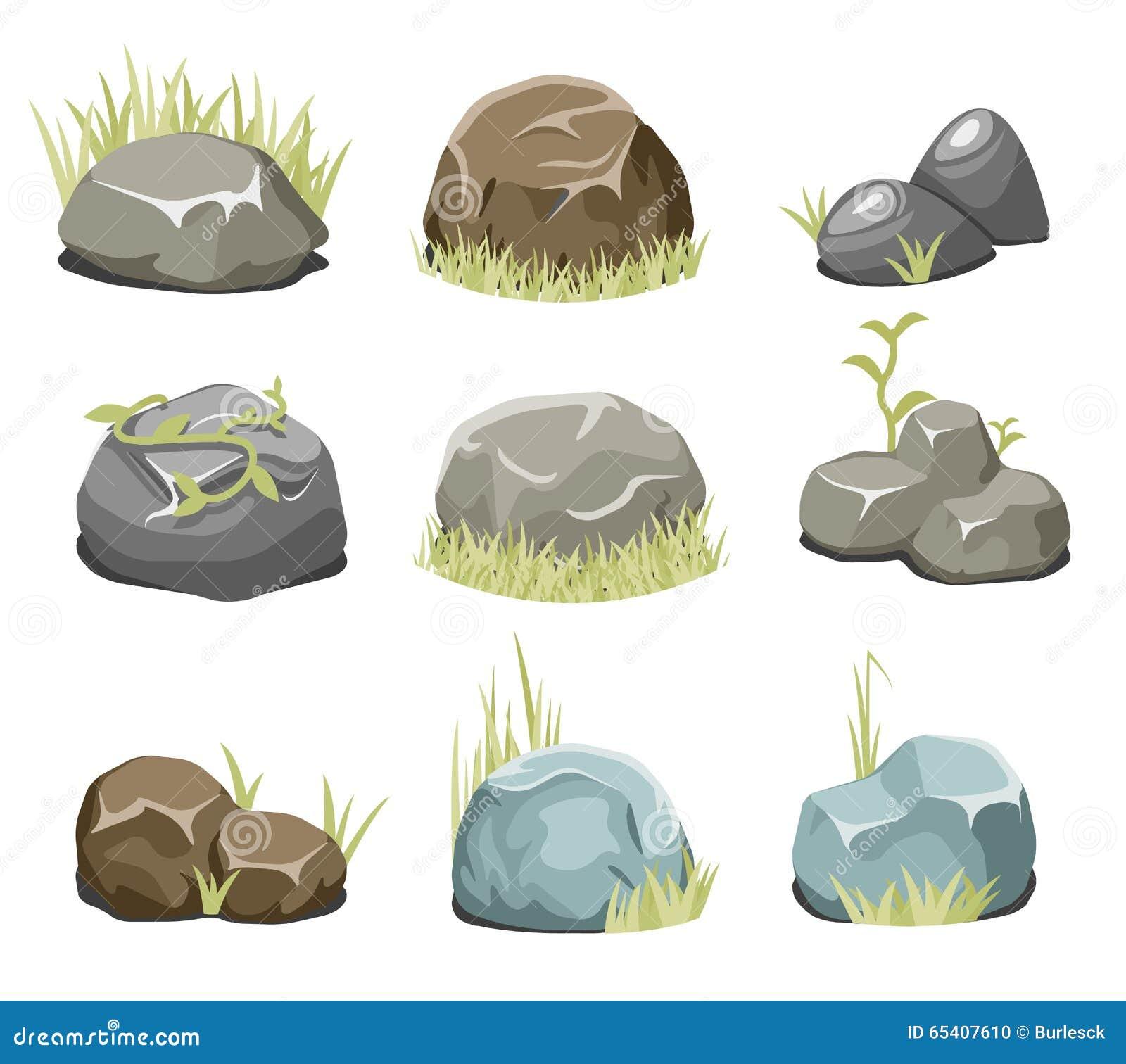 Rocce con erba, le pietre e l erba verde su bianco