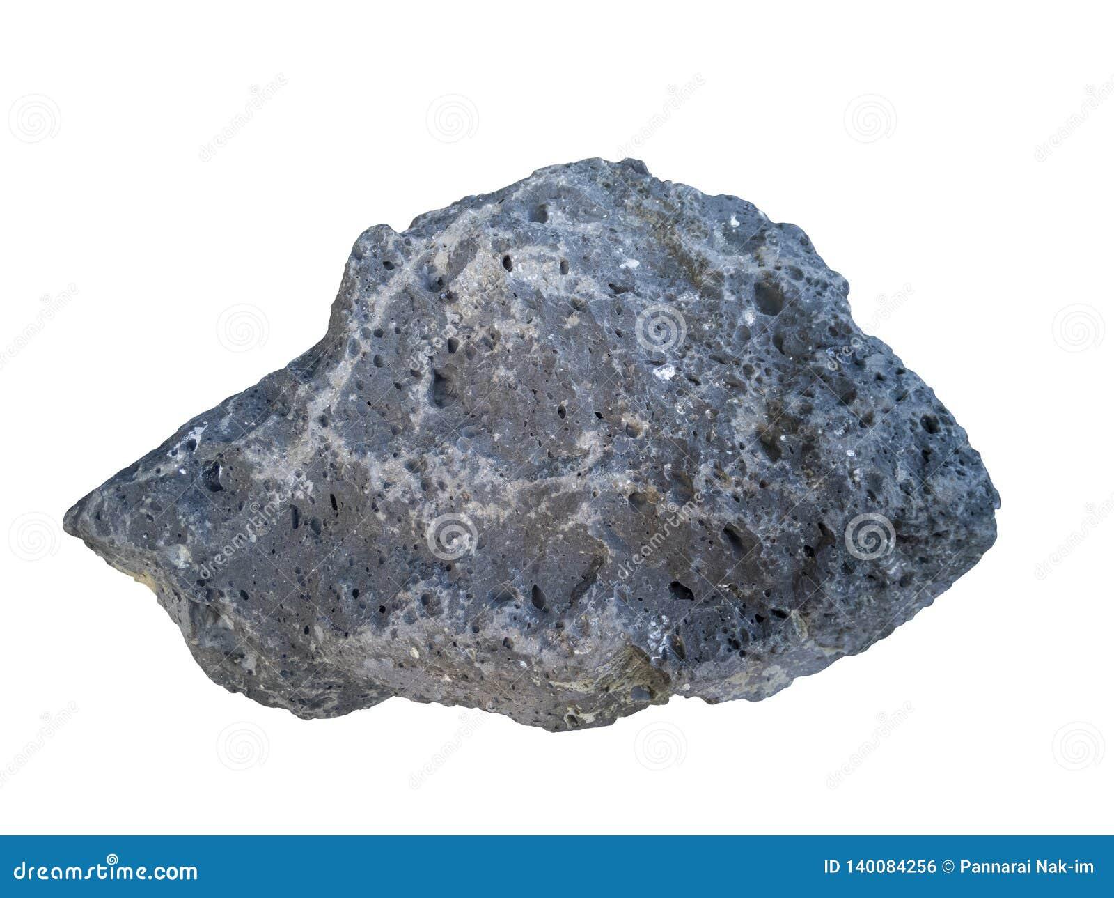 Roche de basalte d isolement sur le fond blanc