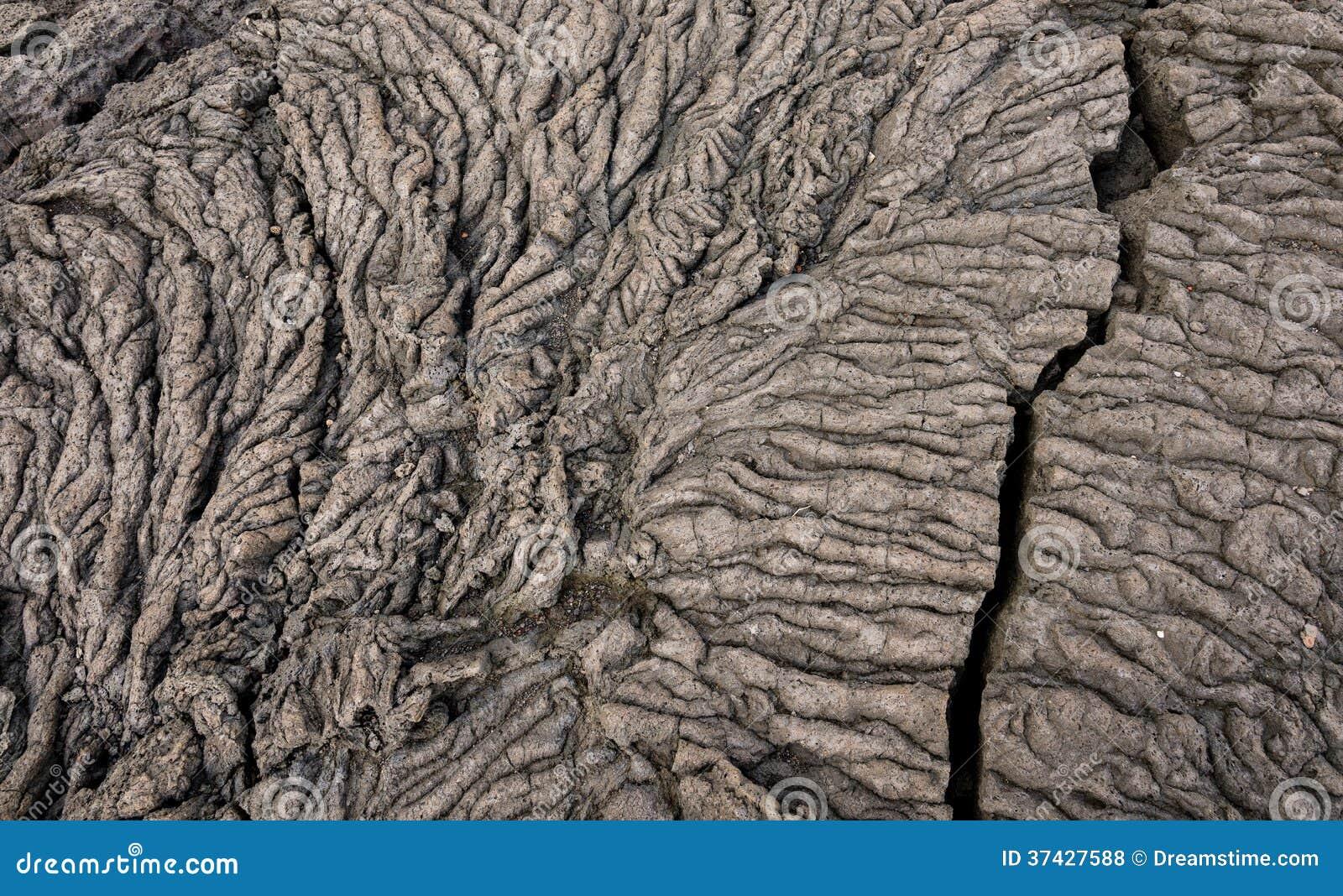 Roche solide de lave de Pahoehoe