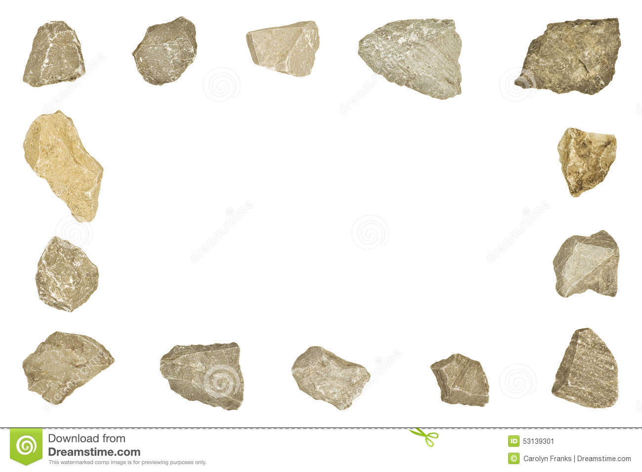 page border made of different shaped rocks on a white background.