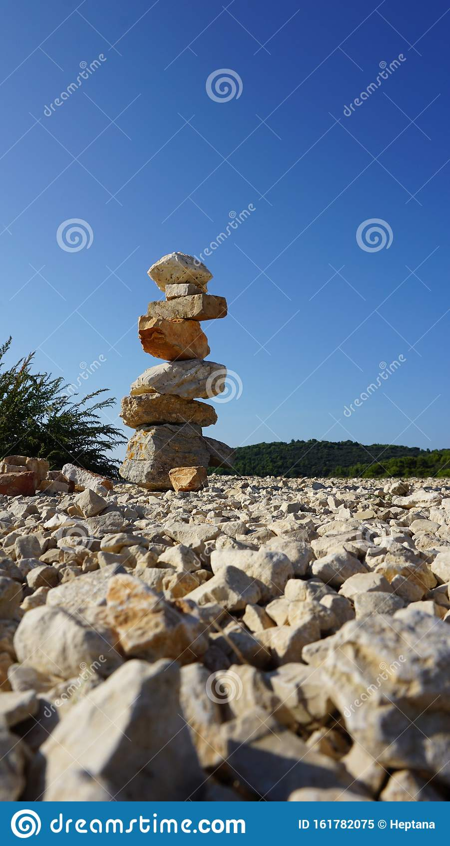 Rock Balancing Stone Stacking Art Stock Image Image Of Blue