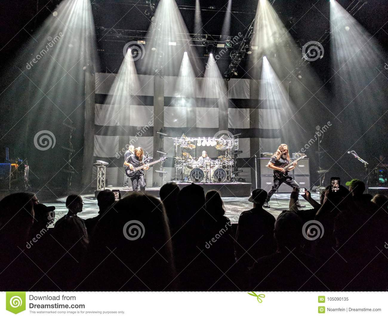 Rock band playing live