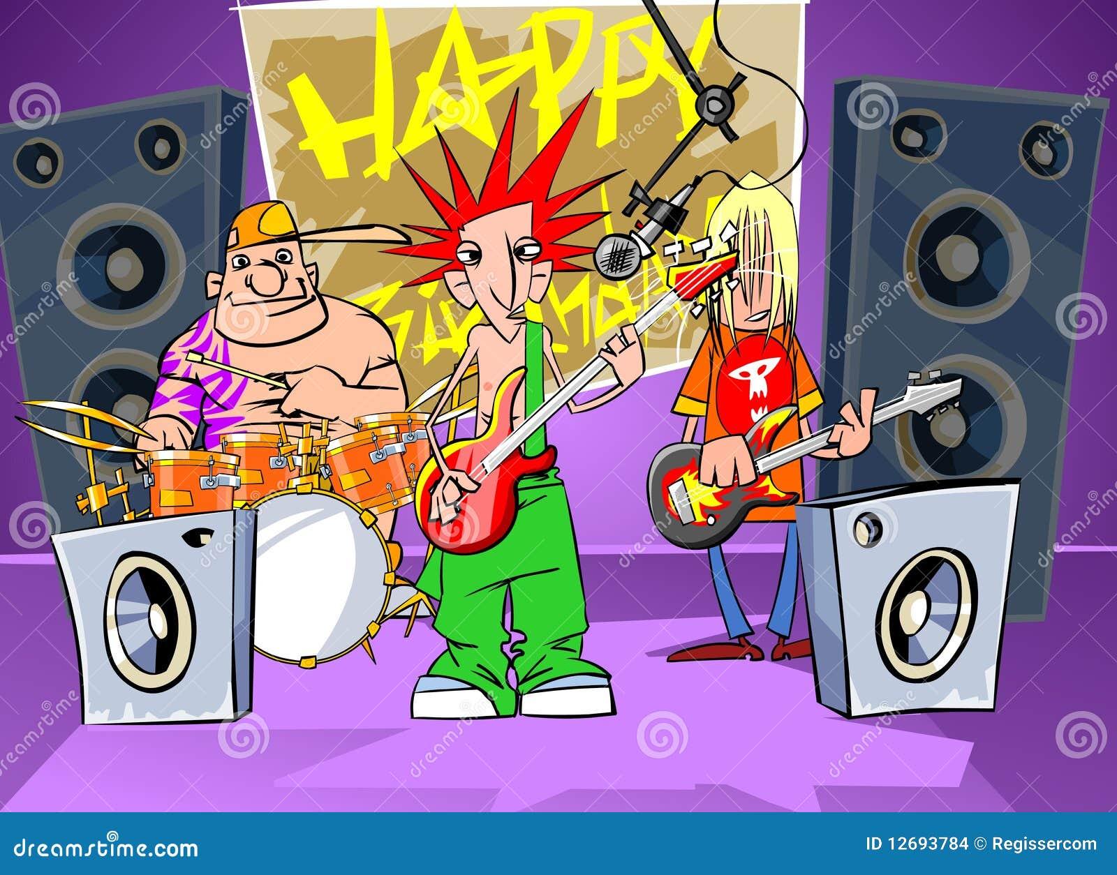 Rock Band Says Happy Birthday Stock Illustration Illustration Of