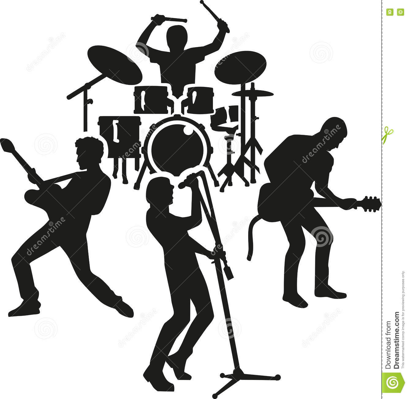 Rock band silhouette stock vector. Illustration of singer ...