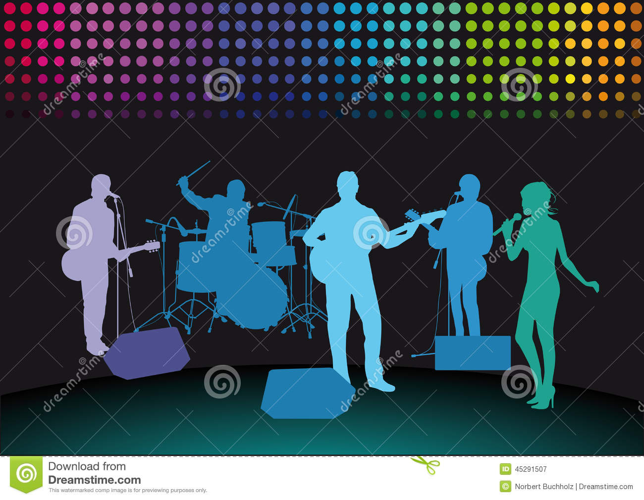 ... drummer and singer, dark lower background with decorative colorful