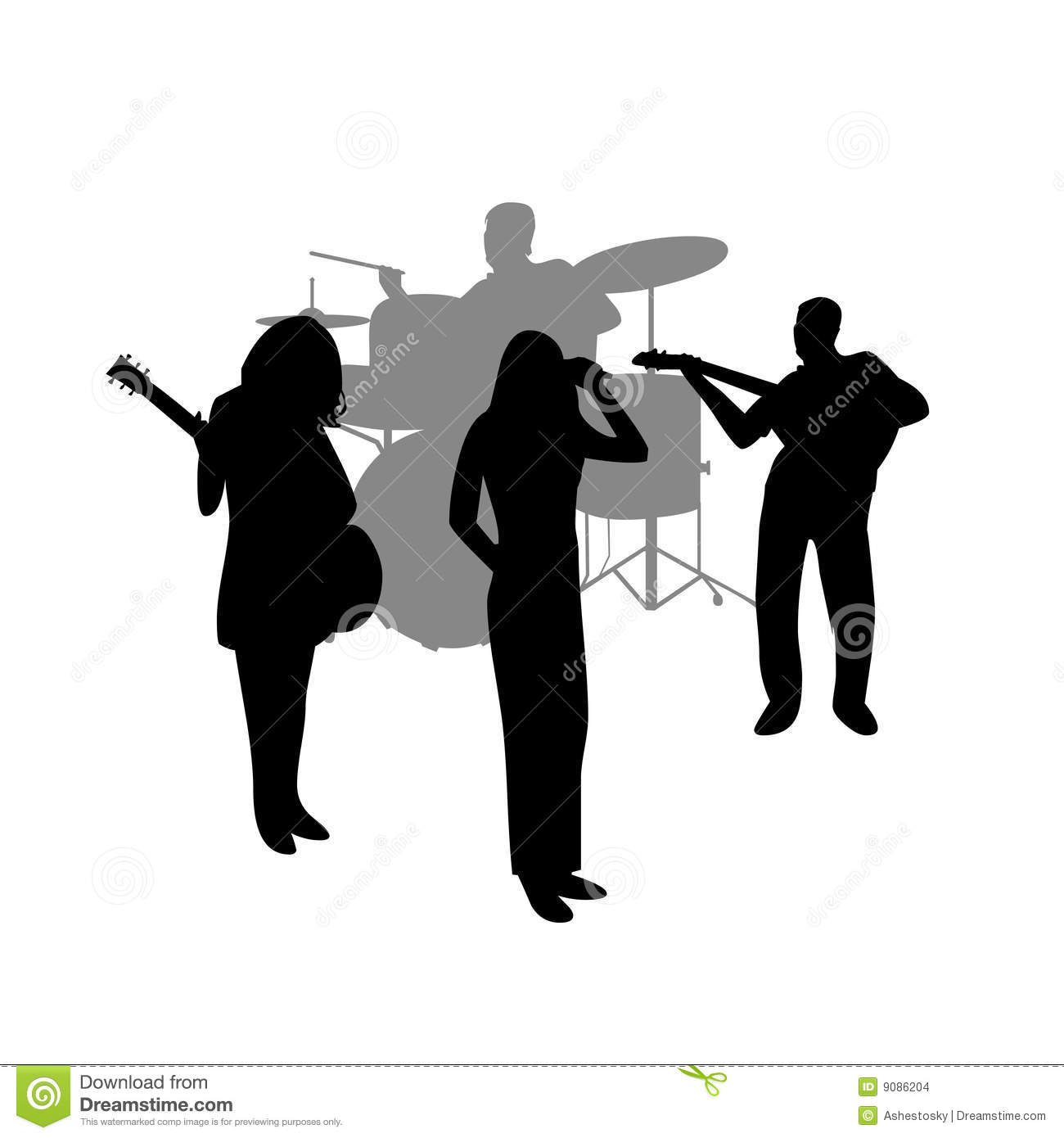 Rock band vector silhouette Rock Band Silhouette