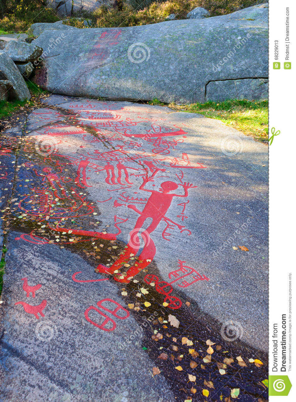 Rock carvings in tanum stock image of ancient
