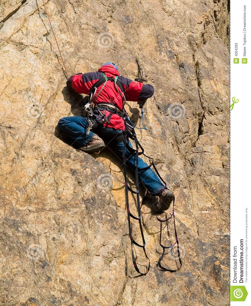 Rock climber at ladder