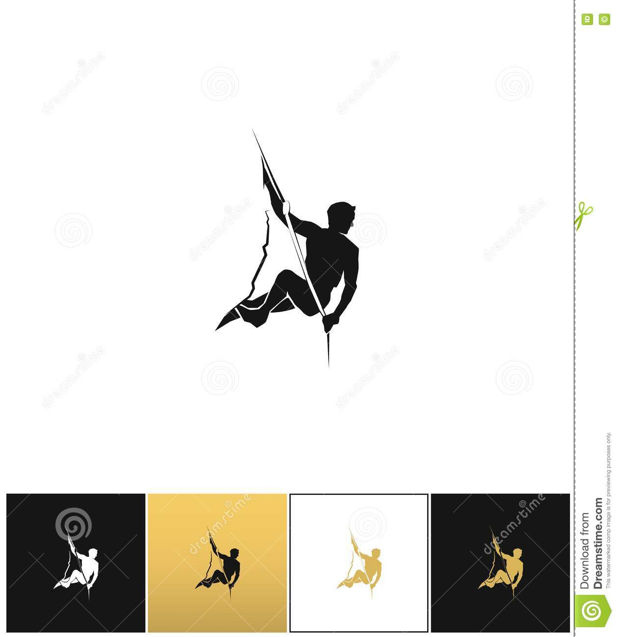 Rock climber silhouette vector free