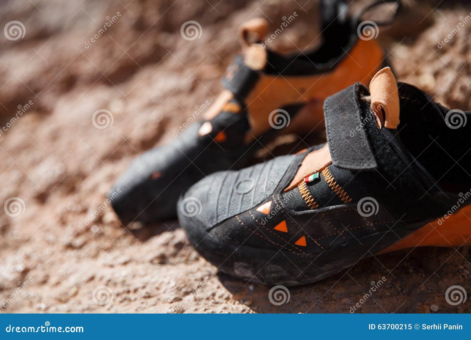 Rock Climbing Shoes Closeup Stock Image Image Of Adventure