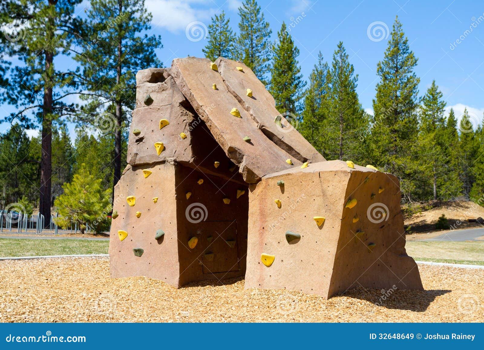 Rock Climbing Wall At Park. Playground, Handhold.