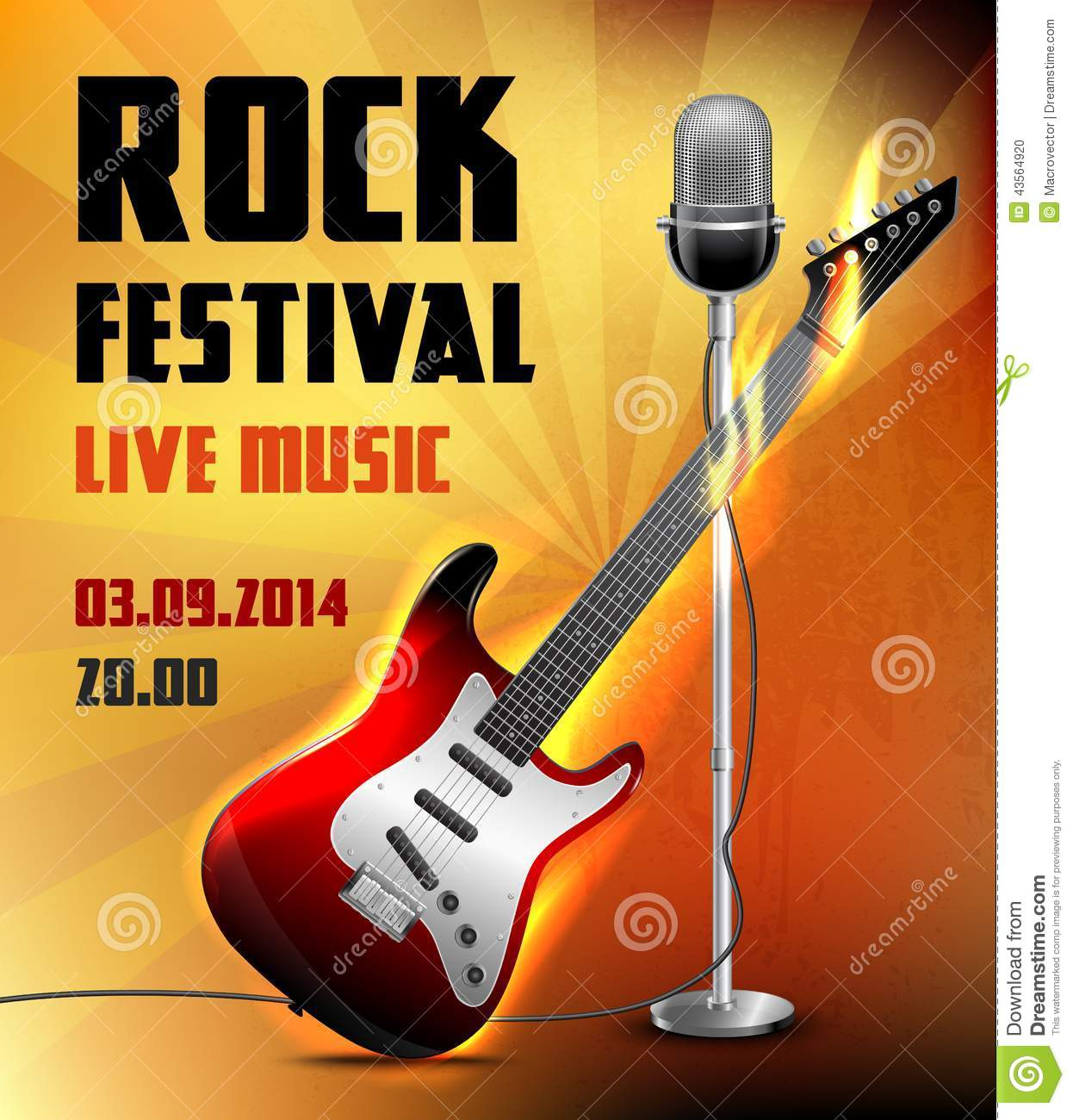 Rock festival live music concert poster with electric guitar and ...