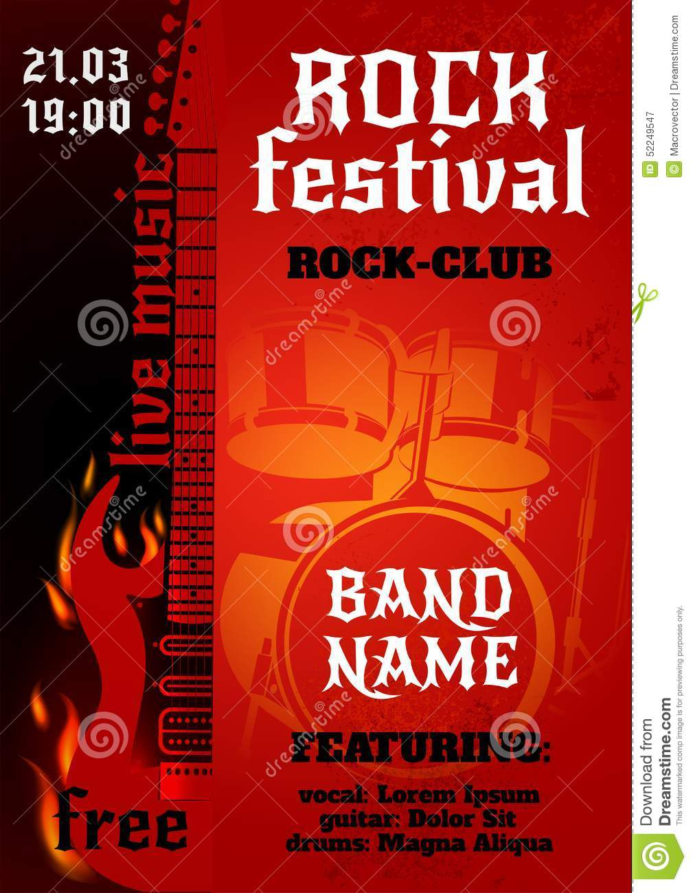 Rock Concert Poster Stock Vector Illustration Of Instrument