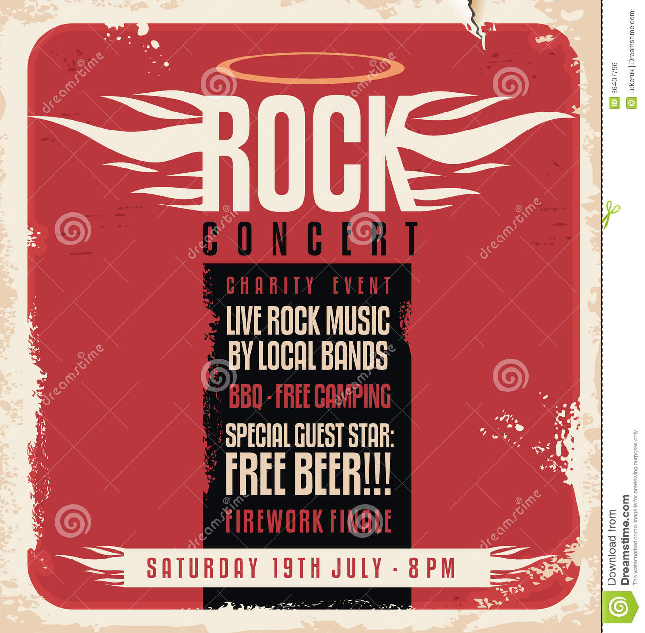 Rock Concert Retro Poster Design Stock Vector - Illustration of ...