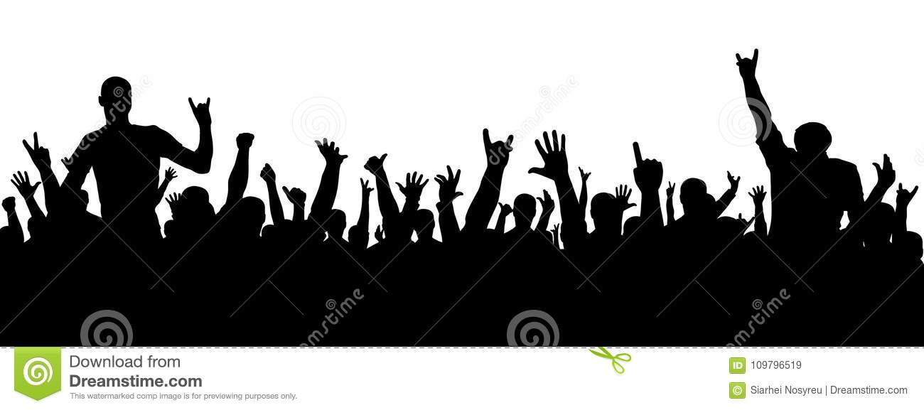 Rock concert silhouette. A crowd of people at a party. Cheerful crowd silhouette. Party people, applaud