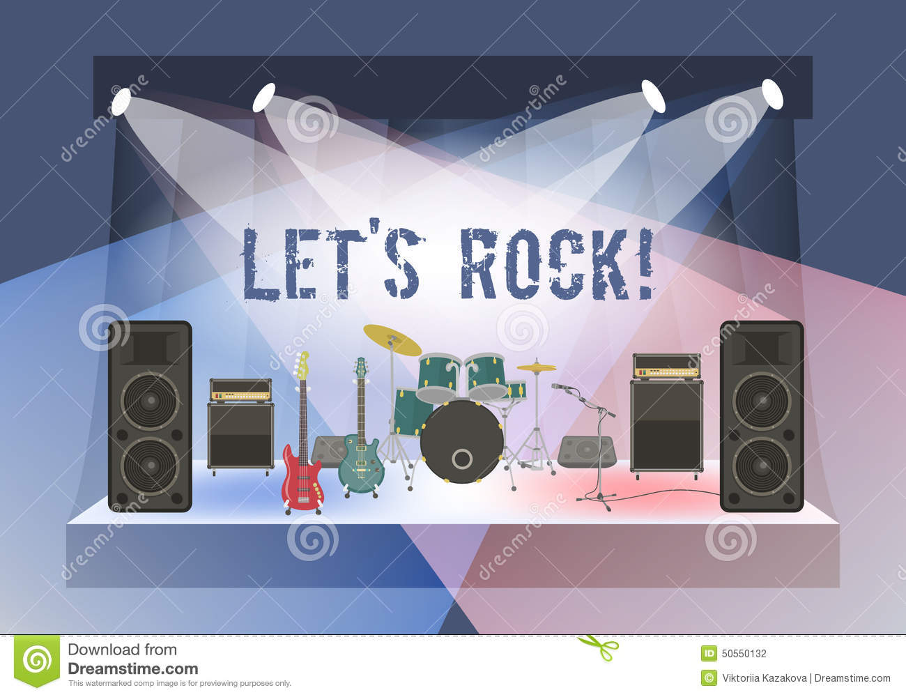 Rock Concert Stage Stock Vector Image 50550132