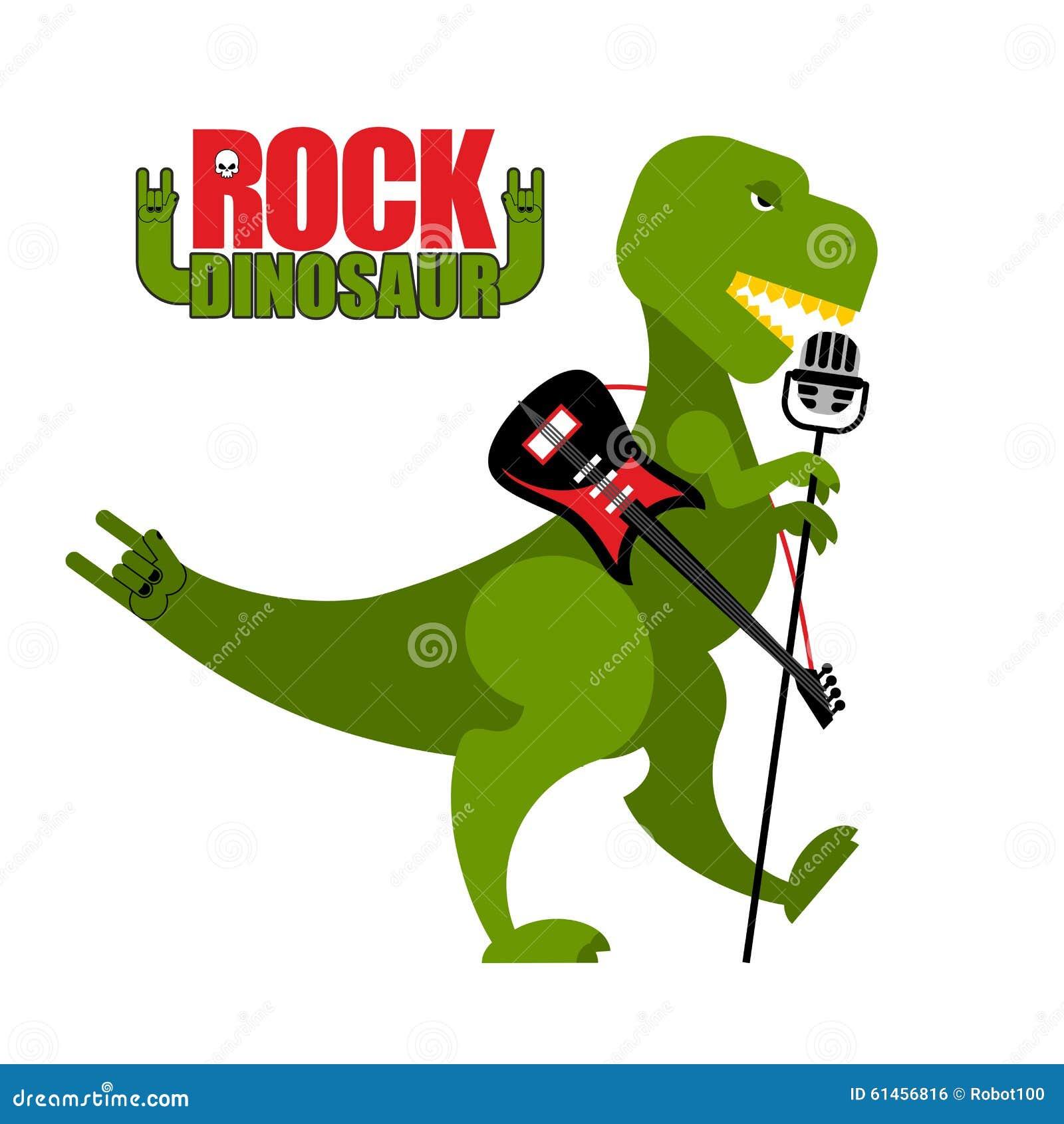 Download Rock Dinosaur Tyrannosaurus Is Singing Into Microphone Dino T Stock Vector