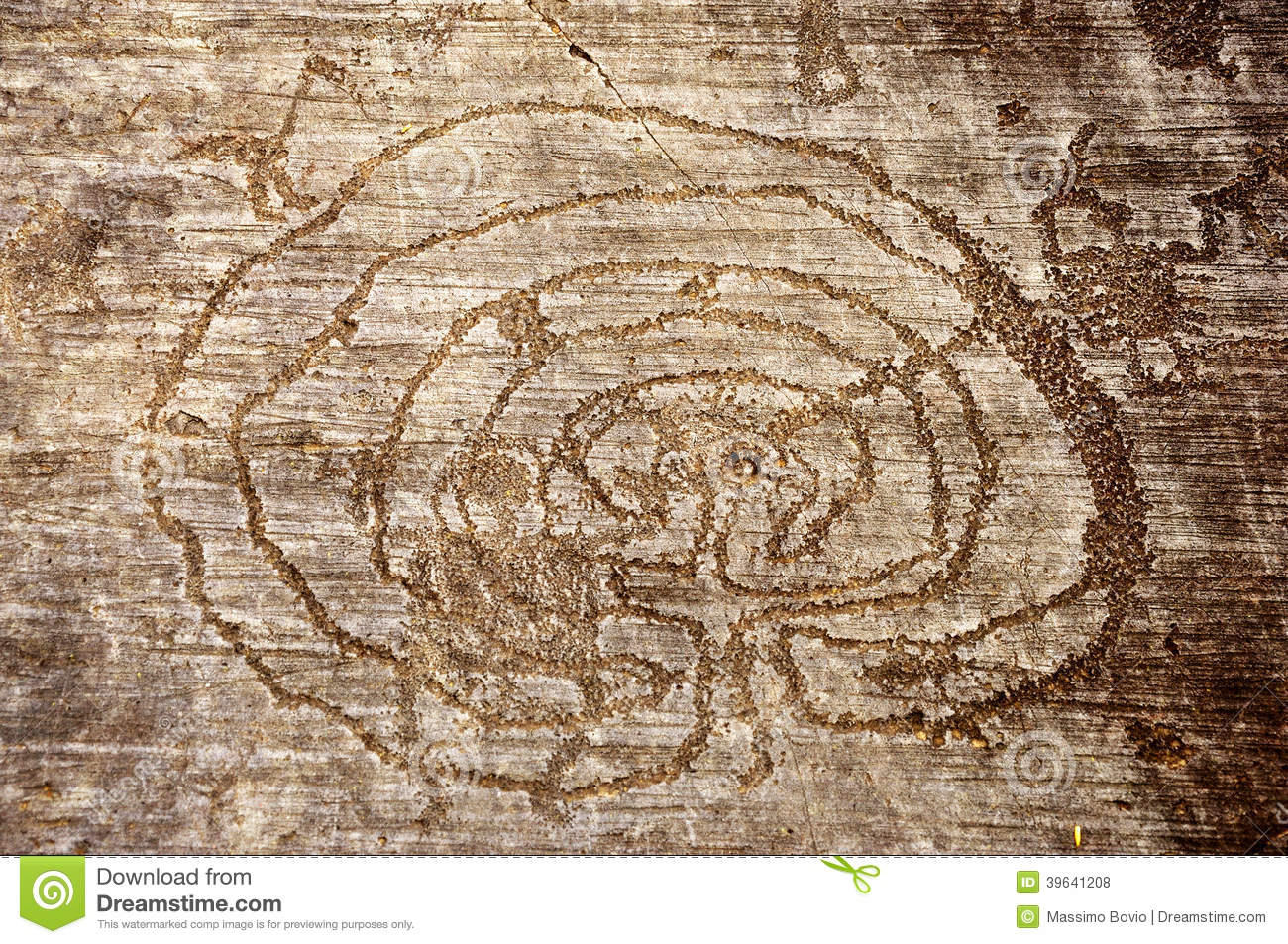Rock drawings in valcamonica labyrinth stock photo