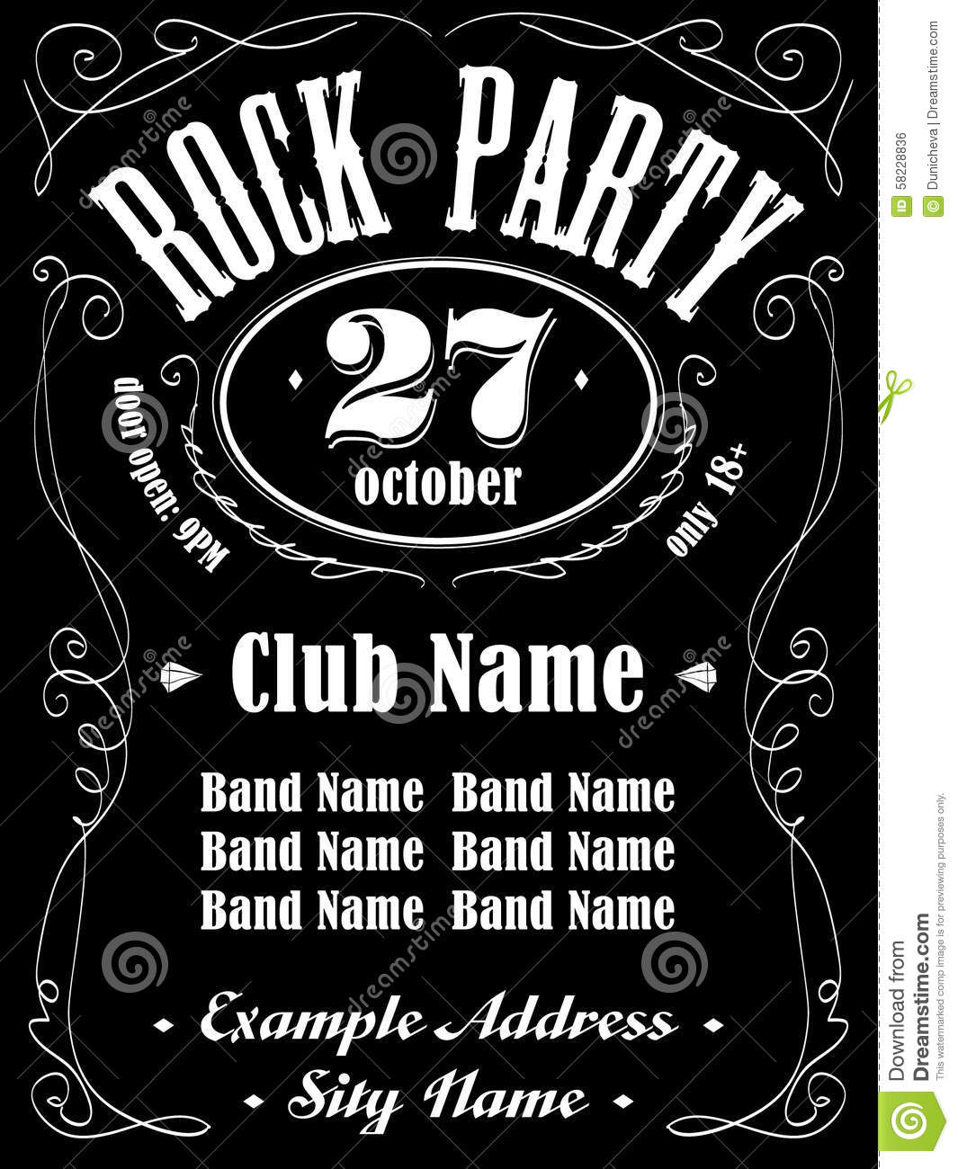 Rock Event Poster Or Flyer Template. Stock Vector - Illustration of ...
