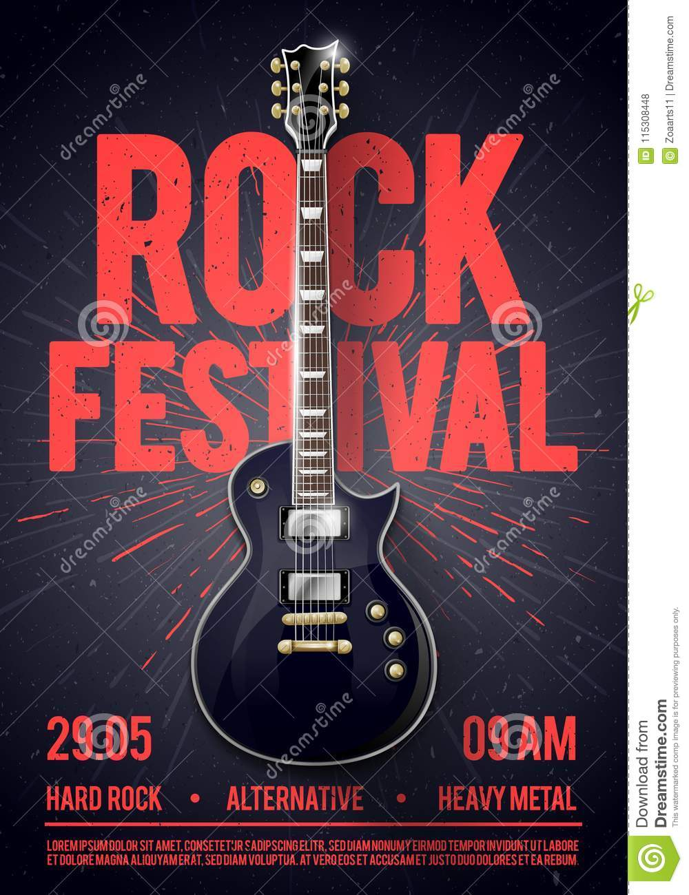 Vector illustration rock festival concert party flyer or posterdesign template with guitar, place for text and cool effects in the