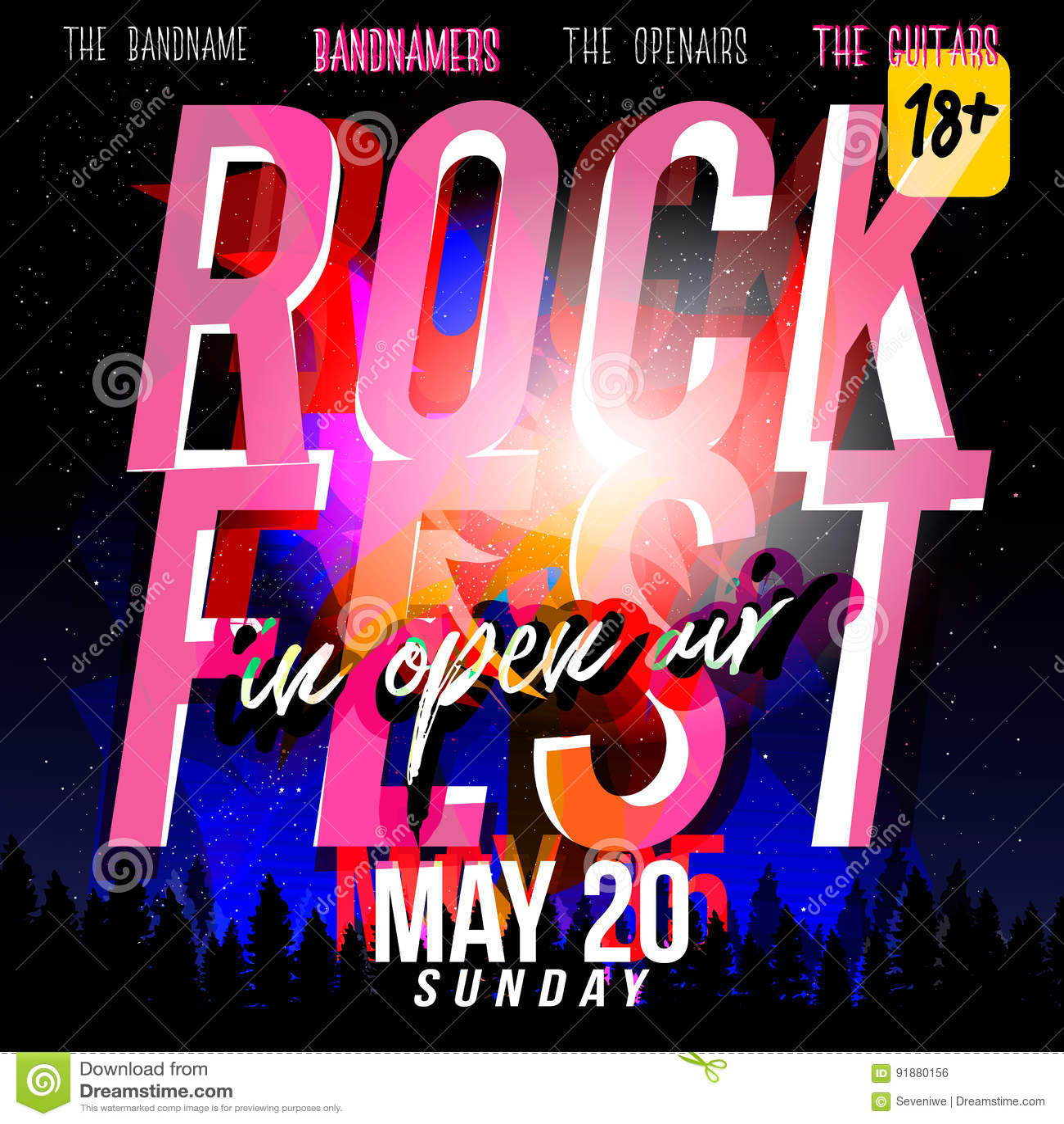 70s poster design template - Rock Festival Flyer Design Template Modern Style 70s 80 Stock Vector