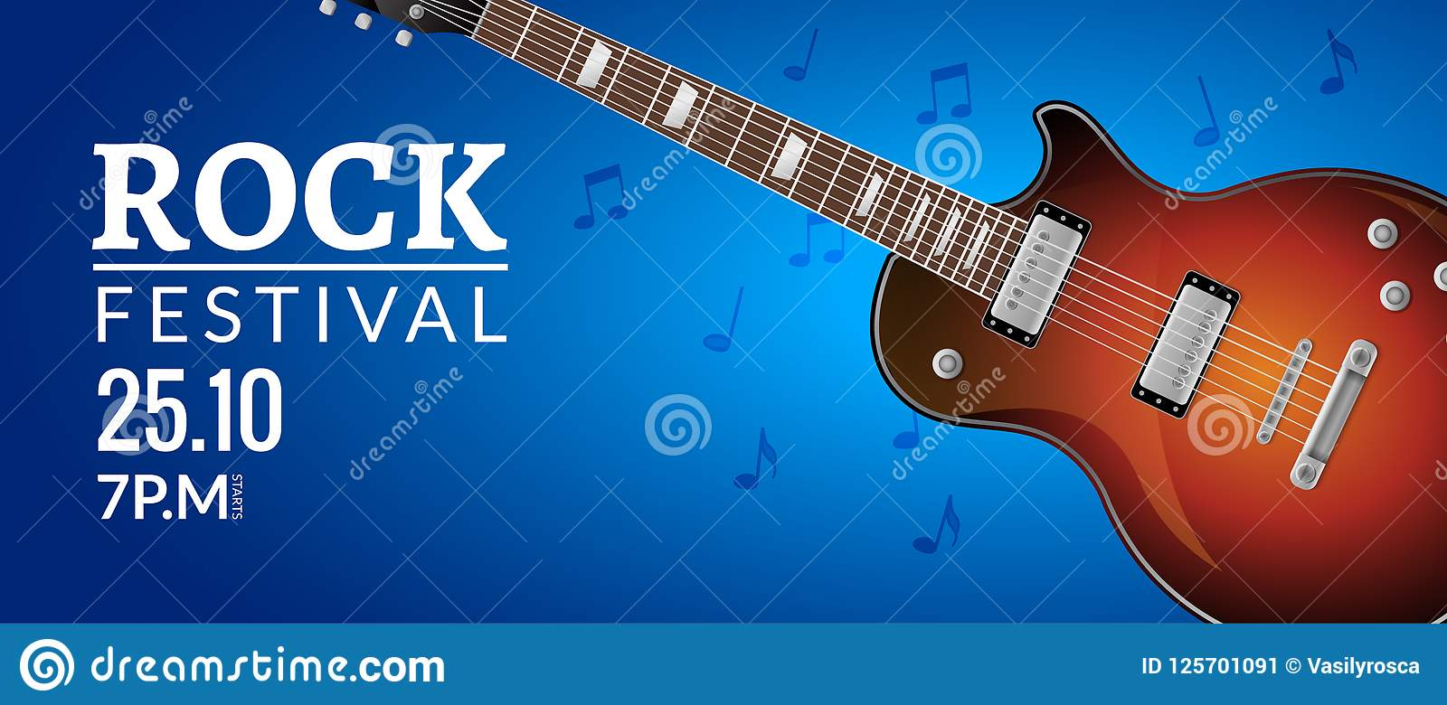 rock festival flyer event design template with guitar rock banner