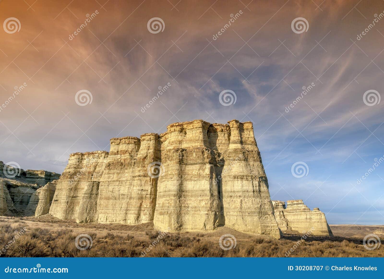 Desert Rock Pillars : Rome oregon pillars at sunset royalty free stock