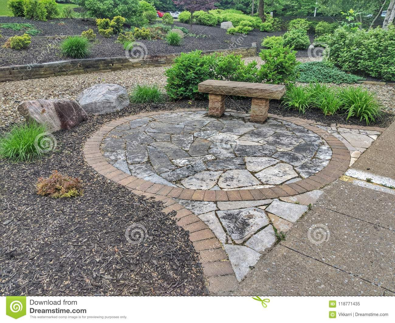 Rock Garden Design With Bench And Plants Stock Image - Image ... on english garden design plants, tropical garden design plants, japanese garden design plants,