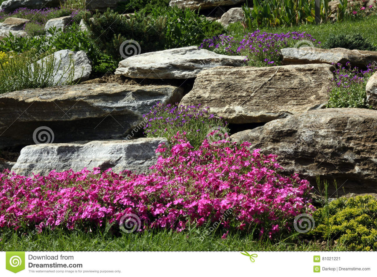 Rock Garden With Flowering Perennials