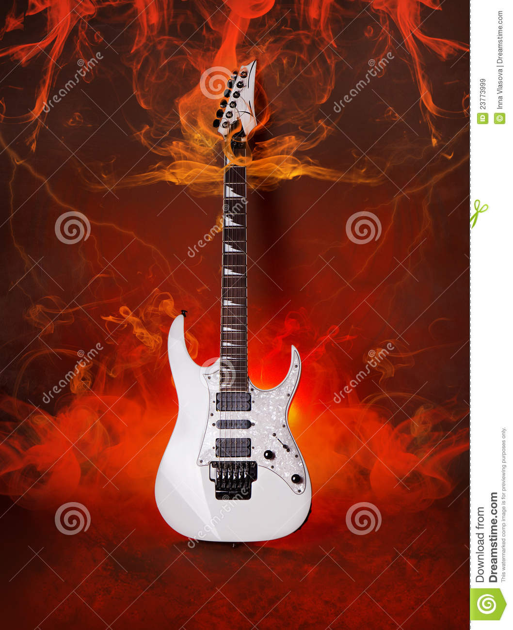 Rock Guitar In Flames Of Fire Royalty Free Stock Images ...