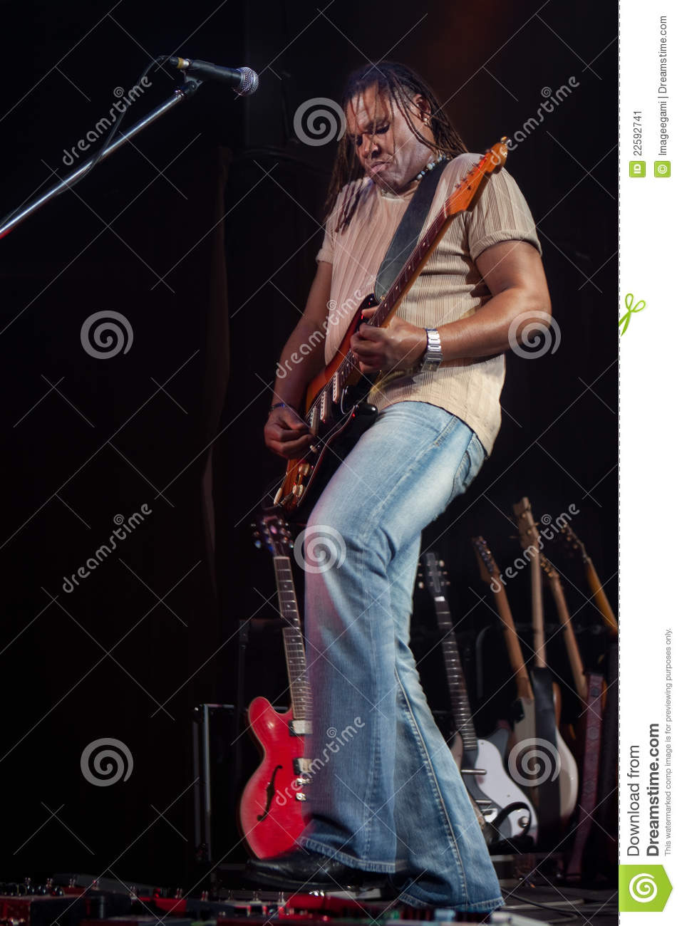 rock guitarist performing on stage stock image image