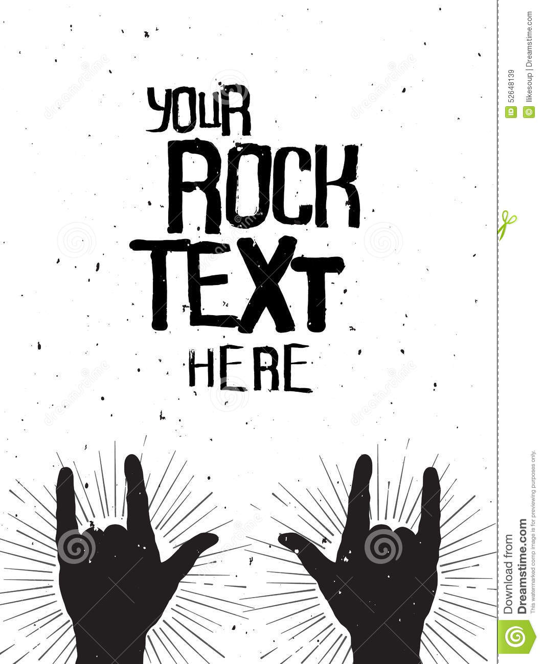 rock hands silhouettes on a concert grunge template for