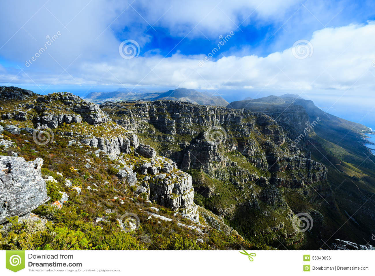 Rock and landscape on top of table mountain royalty free for Landscaping rocks cape town