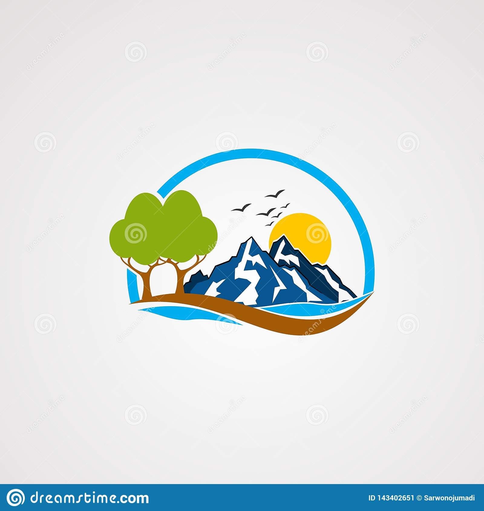 Rock mountain logo vector, icon, element, and template for company
